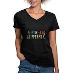 Slippermen Women's V-Neck Dark T-Shirt