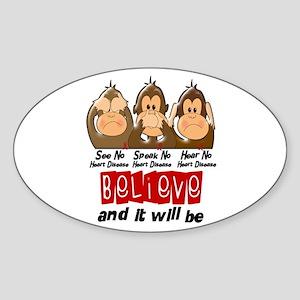 See Speak Hear No Heart Disease Oval Sticker
