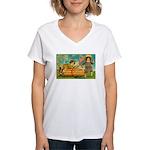 Kids Thanksgiving Women's V-Neck T-Shirt