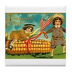 Kids Thanksgiving Tile Coaster
