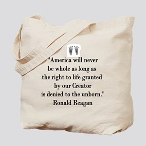 Reagan on Right to Life Tote Bag
