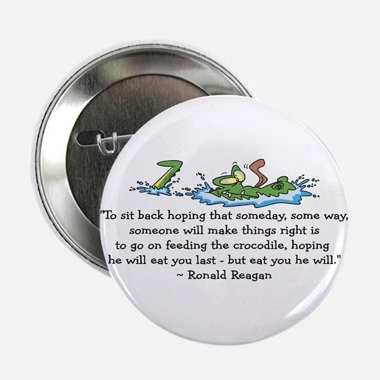 """Reagan Crocodile 2.25"""" Button"""