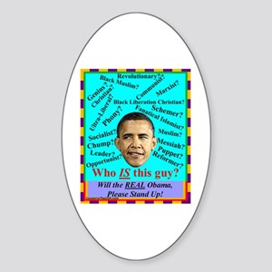 """Who Is Obama?"" Oval Sticker"