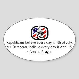 Republicans vs. Democrats Oval Sticker
