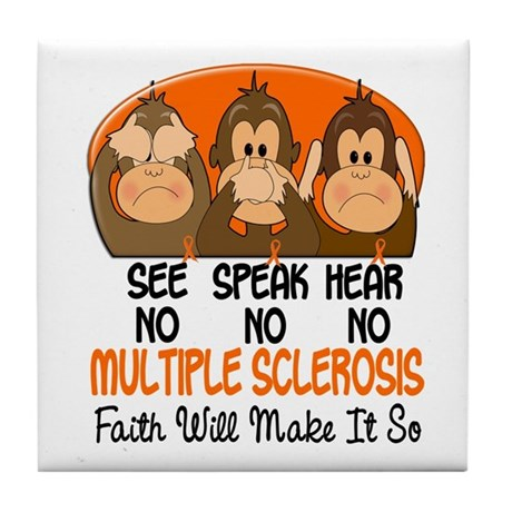 See Speak Hear No MS 1 Tile Coaster