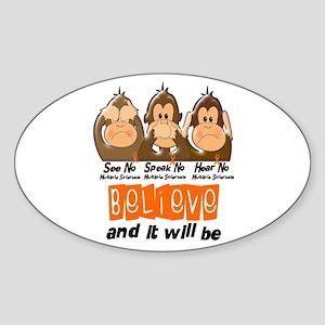 See Speak Hear No MS 3 Oval Sticker
