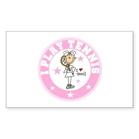 Girl I Play Tennis Rectangle Sticker