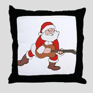 Santa w/ Guitar Throw Pillow