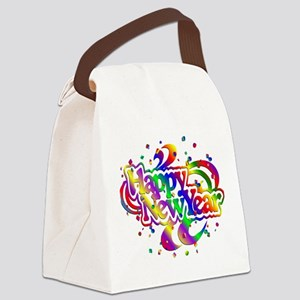 Colorful Happy New Year Confetti Canvas Lunch Bag