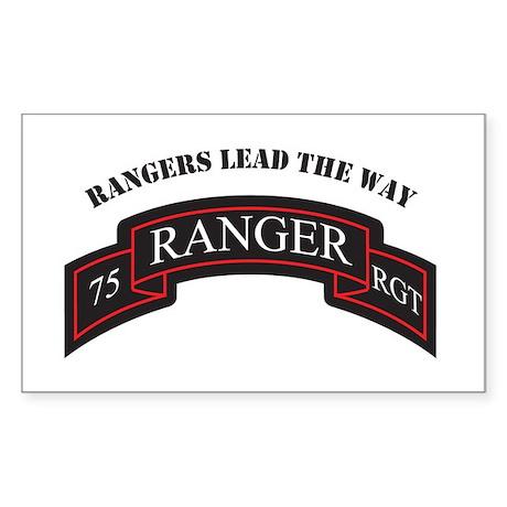 75th Ranger Scroll Rangers L Rectangle Sticker
