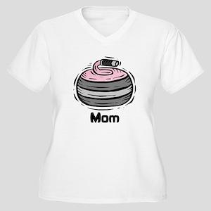 Curling Curler Curl Mom Women's Plus Size V-Neck T
