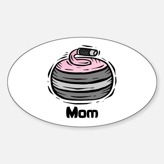 Curling Curler Curl Mom Oval Decal