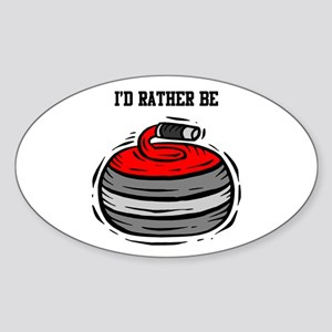 Rather Be Curling Oval Sticker