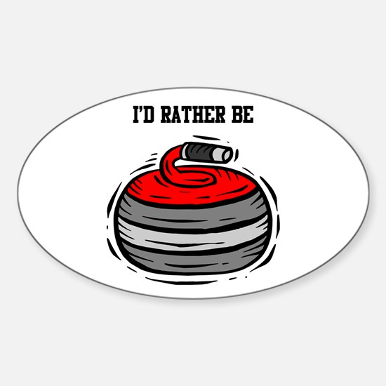 Rather Be Curling Oval Decal