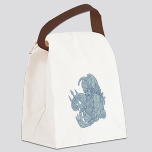 Poseidon Trident Waves Drawing Canvas Lunch Bag