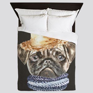 Pug Straw Hat Scarf Dogs In Clothes Queen Duvet