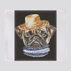 Pug Straw Hat Scarf Dogs In Clothes Throw Blanket