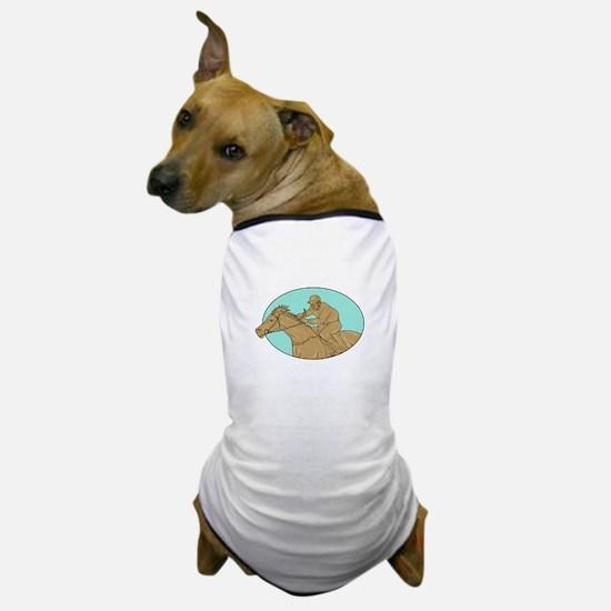 Jockey Horse Racing Oval Drawing Dog T-Shirt