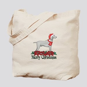 Poinsettia Weimaraner Tote Bag