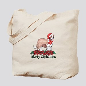 Poinsettia St Bernard Tote Bag