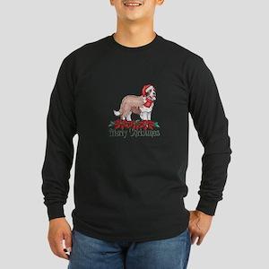 Poinsettia St Bernard Long Sleeve Dark T-Shirt