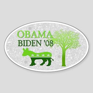 Obama Biden Green 08 Oval Sticker