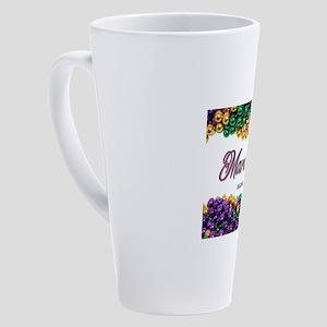 Mardi Gras beads 17 oz Latte Mug
