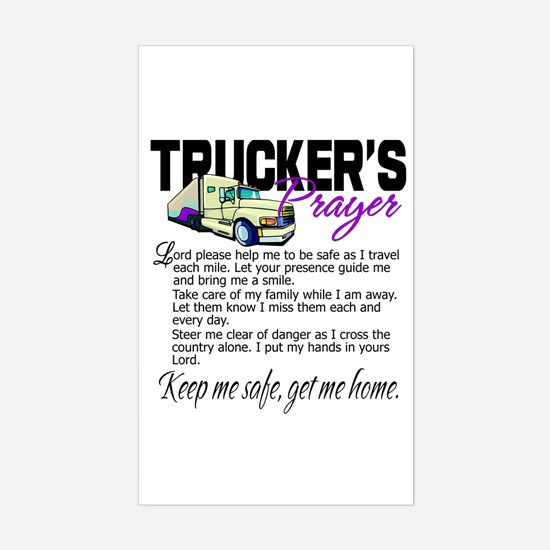 Trucker's Prayer Sticker (Rectangle)