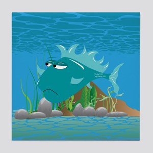 Aqua Grumpy Fish Tile Coaster