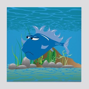 Blue Grumpy Fish Tile Coaster
