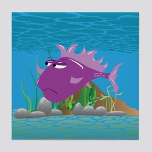 Purple Grumpy Fish Tile Coaster