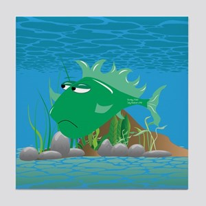 Green Grumpy Fish Tile Coaster