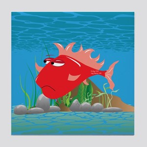 Red Grumpy Fish Tile Coaster