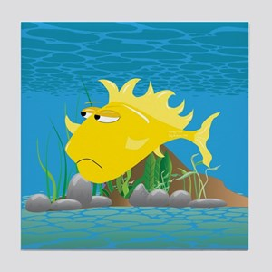 Yellow Grumpy Fish Tile Coaster