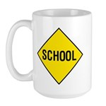 Yellow School Sign - Large Mug