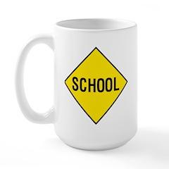 Yellow School Sign - Large Mug