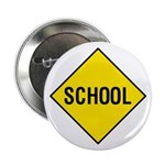 Yellow School Sign - Button