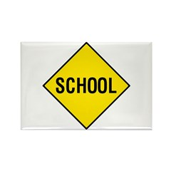Yellow School Sign - Rectangle Magnet (100 pack)