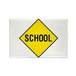 Yellow School Sign - Rectangle Magnet (10 pack)