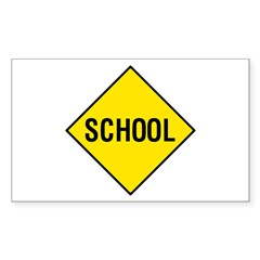 Yellow School Sign - Rectangle Decal