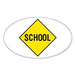 Yellow School Sign - Oval Sticker