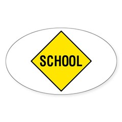 Yellow School Sign - Oval Decal