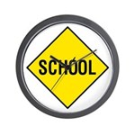 Yellow School Sign - Wall Clock