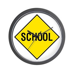 Yellow School Sign - Wall Clock