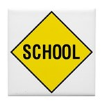 Yellow School Sign - Tile Coaster