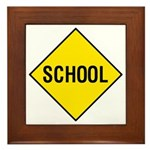 Yellow School Sign - Framed Tile