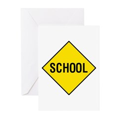 Yellow School Sign - Greeting Cards (Pk of 10)