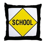 Yellow School Sign - Throw Pillow