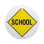 Yellow School Sign - Keepsake (Round)