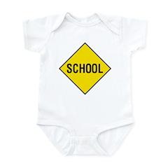 Yellow School Sign - Infant Creeper